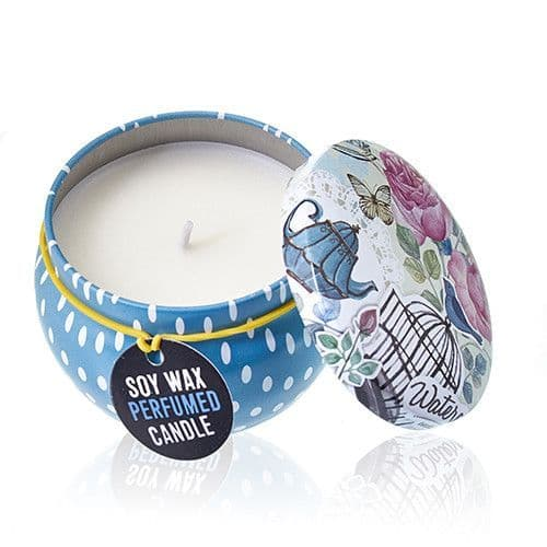 Soy Wax Candles Art Printed Tin Cotton Wick - Parisian Weekend - Peonies